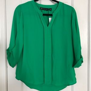 NY&Co. Green Rolled Up Sleeve Blouse